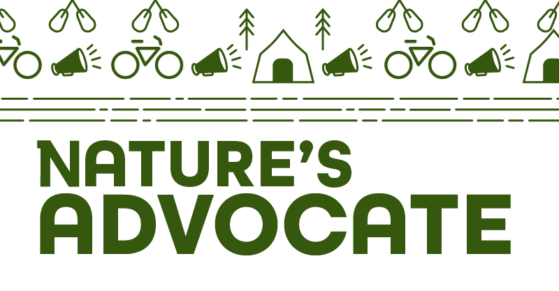 Nature's Advocate graphic featuring outdoor icons