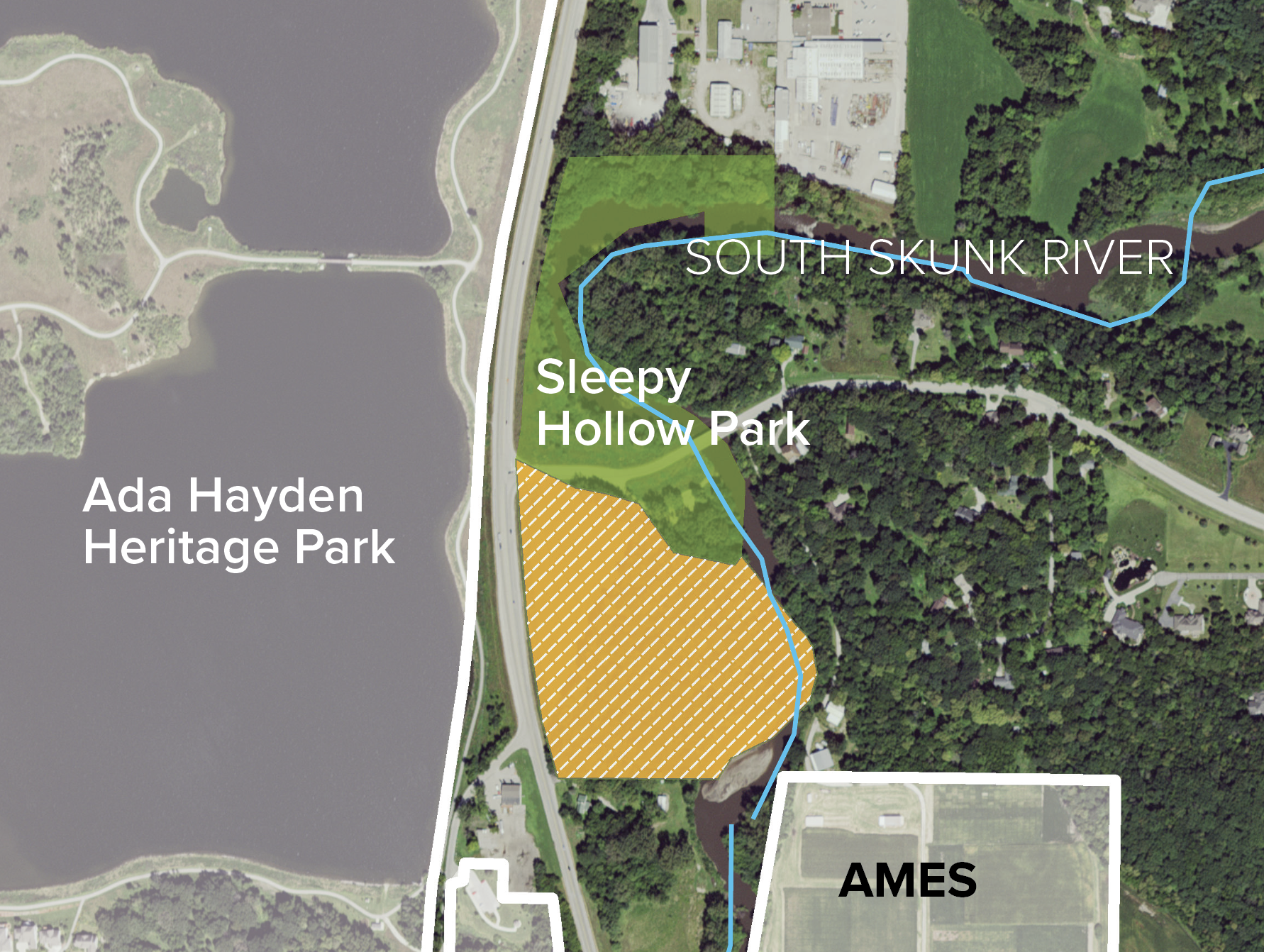 South Skunk River buffered with Sleepy Hollow Park addition in Ames