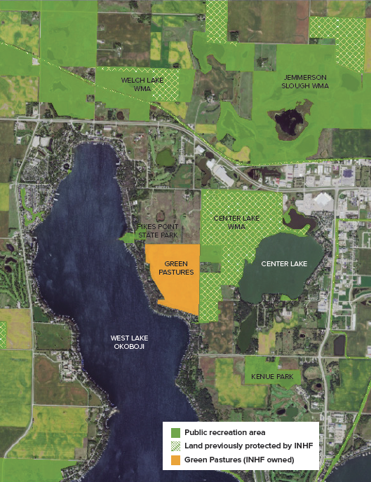 Green Pastures is surrounded by other privately and publicly protected land in the Okoboji area.