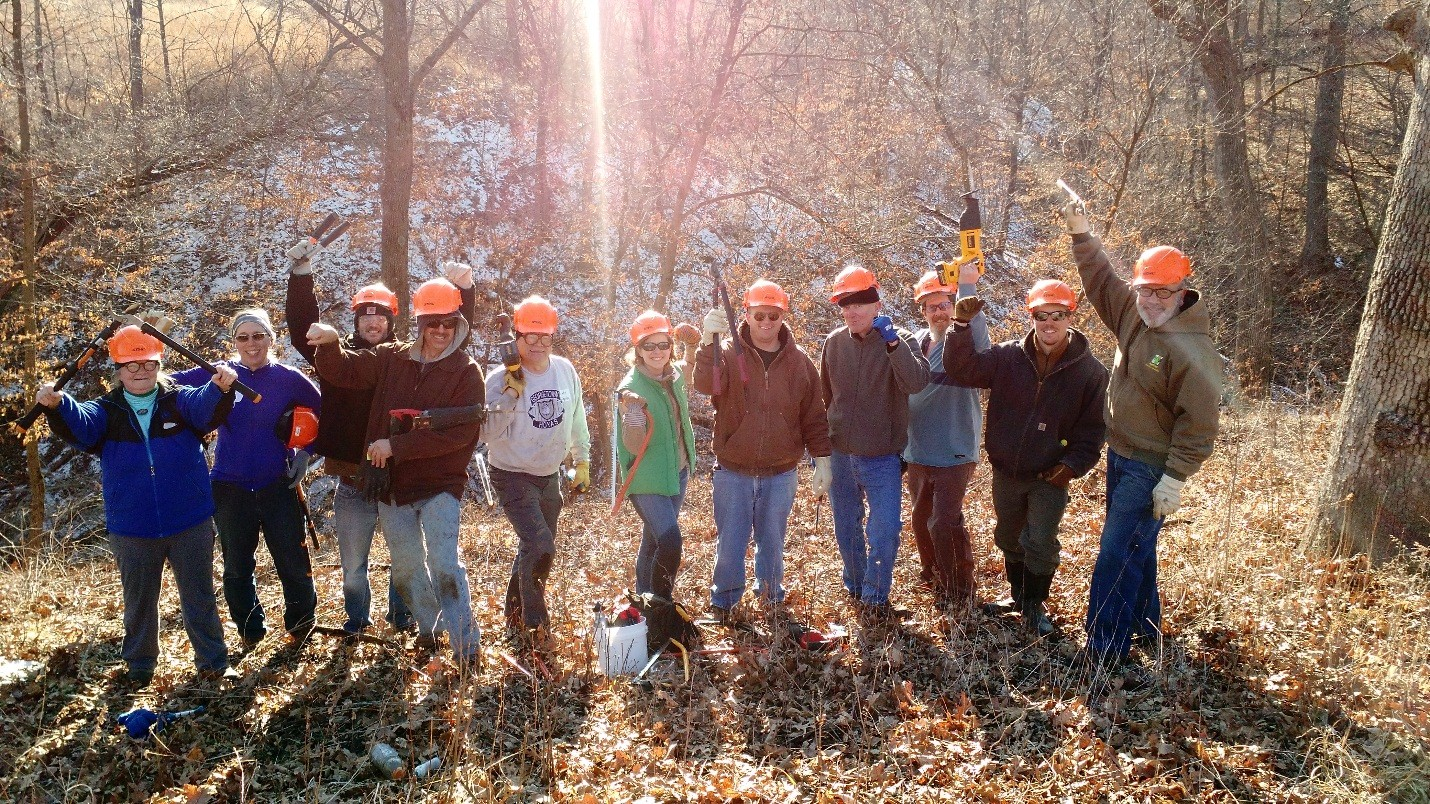 Volunteers at the Winter Invasive Brush Removal at Snyder Heritage Farm