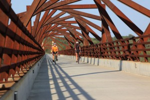 "The ""Art Bridge"" in use on High Trestle Trail."