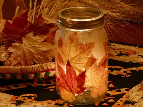 fall leave candle